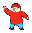 comic cartoon man in hat waving vector image vector image