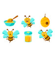 cute funny bees beehive honey in jar organic vector image vector image