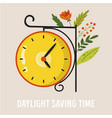 daylight saving time abstract design with clock vector image vector image