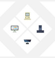 flat icon laptop set of pc display processor and vector image vector image