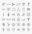 girl fashion line icons set vector image vector image