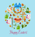 happy easter spring holiday greeting card design vector image vector image