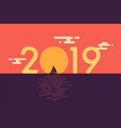 happy new year 2019 text design with sailboat vector image vector image