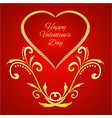 happy valentine day heart with gold ornaments vector image vector image