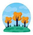 landscape trees meadow nature scene vector image vector image
