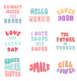 lettering typography girl overlay set vector image vector image