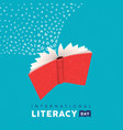 literacy day card concept flying book alphabet vector image vector image