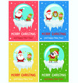 merry christmas happy new year santa elf banners vector image