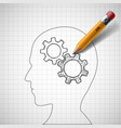 pencil draws gears in human head vector image vector image