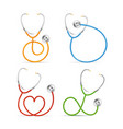 realistic detailed 3d color stethoscope set vector image