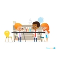 School children in lab clothing and safety glasses vector image vector image