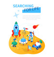 searching for life - modern colorful isometric web vector image