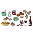 set cute food doodles hygge food stickers for vector image vector image