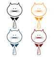 set of cats with tie in fish form vector image