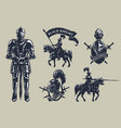set of medieval knights mounted knights vector image vector image