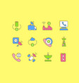 set simple line icons communication service vector image