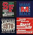 set vintage design print for t-shirt stamp tee vector image vector image