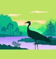 silhouette standing heron beautiful vector image