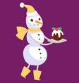 snowman cute cartoon winter christmas vector image vector image