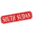 South Sudan red square grunge retro style sign vector image vector image