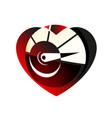 speedometer red in heart icon black symbol love vector image vector image