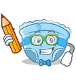 student with pencil baby diaper character cartoon vector image vector image