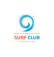 surf club logo template design with wave vector image