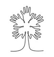 tree made of human hand for community help vector image vector image