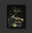 tropical leaves black gold botany christmas card vector image