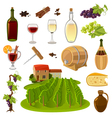 Wine Cartoon Icons Set vector image