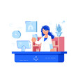 woman pharmacist reading recipe vector image vector image