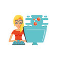 woman with desktop computer and share symbol vector image vector image
