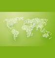 world map composition of the white pieces of paper vector image