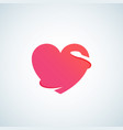 heart with negative space snake abstract vector image