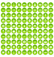 100 economy icons set green circle vector image vector image