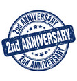 2nd anniversary blue grunge stamp vector image vector image