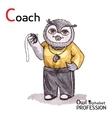 Alphabet professions Owl Letter C - Coach vector image