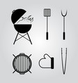 barbecue tools icons set vector image vector image