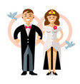 beautiful young bride and groom couple vector image vector image
