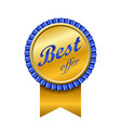 best offer award ribbon icon gold blue sign vector image