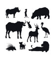 black silhouette african animals vector image vector image