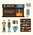 bookstore set design shop store package t-shirt ca vector image vector image