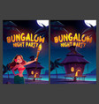 bungalow night party cartoon posters young woman vector image vector image
