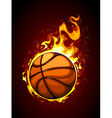 Burning basketball vector image vector image
