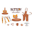 clay pottery workshop studio icons set doodle vector image