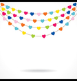 colorful heart shape flag with confetti design vector image vector image