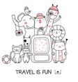 cute baanimal with travel cartoon hand drawn vector image vector image