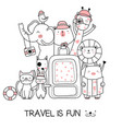 cute baby animal with travel cartoon hand drawn vector image