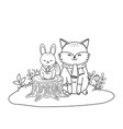 cute fox and rabbit in field woodland vector image vector image