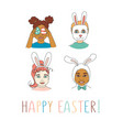 diverse kids children heads happy easter vector image